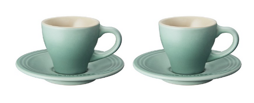 Le Creuset - Sage Espresso Cups and Saucers - Set of 2