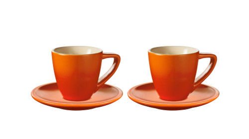 Le Creuset - Flame Minimalist Espresso Cups and Saucers - Set of 2