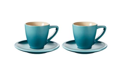 Le Creuset - Caribbean Minimalist Espresso Cups and Saucers - Set of 2