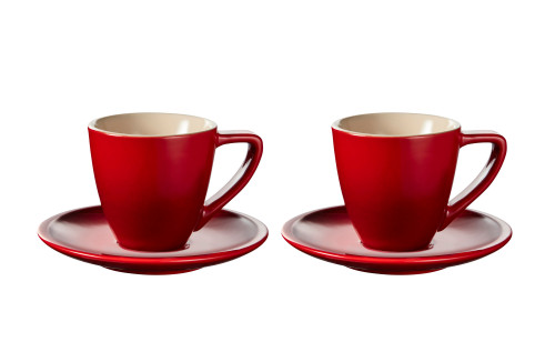 Le Creuset - Cherry Minimalist Espresso Cups and Saucers - Set of 2
