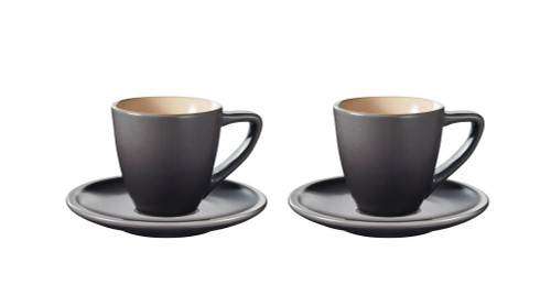 Le Creuset - Oyster Minimalist Espresso Cups and Saucers - Set of 2