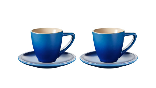 Le Creuset - Blueberry Minimalist Espresso Cups and Saucers - Set of 2