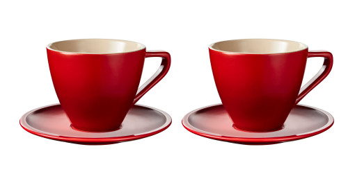 Le Creuset - 0.2 L Cherry Minimalist Cappuccino Cups and Saucers - Set of 2