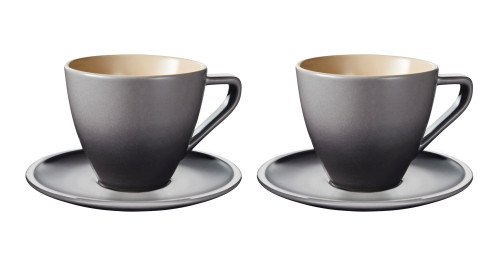 Le Creuset - 0.2 L Oyster Minimalist Cappuccino Cups and Saucers - Set of 2