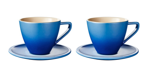 Le Creuset - 0.2 L Blueberry Minimalist Cappuccino Cups and Saucers - Set of 2