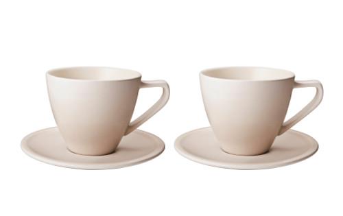 Le Creuset - 0.2 L Meringue Minimalist Cappuccino Cups and Saucers - Set of 2