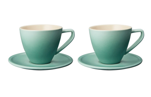 Le Creuset - 0.2 L Sage Minimalist Cappuccino Cups and Saucers - Set of 2