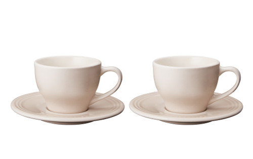 Le Creuset - Meringue Cappuccino Cups and Saucers - Set of 2