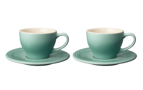 Le Creuset - Sage Cappuccino Cups and Saucers - Set of 2