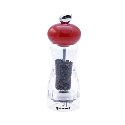 "Swissmar - 6""  Red and Acrylic Pepper Mill - SM302450"