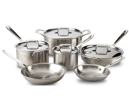All Clad - D5 Brushed 10 Piece Cookware Set - BD005710-R
