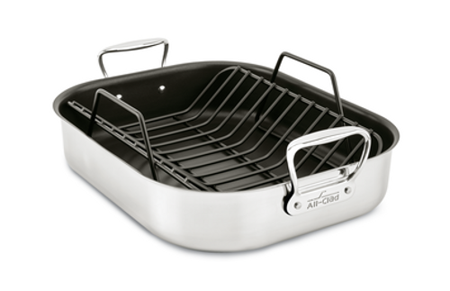 """All Clad - 16"""" x 13"""" Large Non-Stick Roaster With Rack - E751S264"""