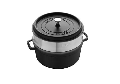 Staub - Black 5.2L Round Cocotte With Steamer