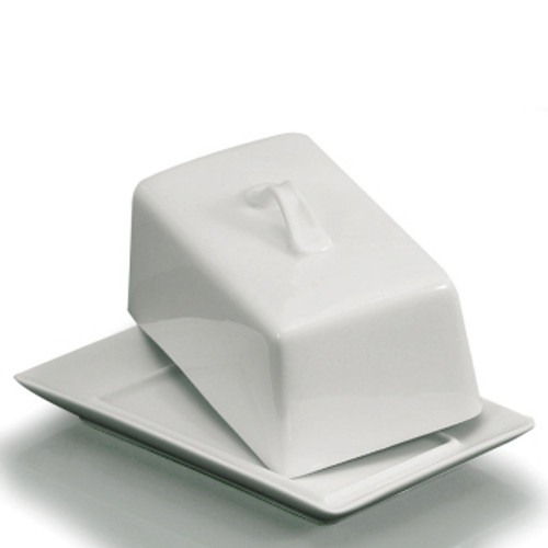 Danesco - White Porcelain Covered Butter Dish (Holds 1Lbs)