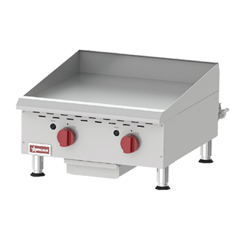 Omcan - Countertop Stainless Steel Gas Griddle With Thermostatic Control With 2 Burners - 43017