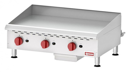 Omcan - Countertop Stainless Steel Gas Griddle With Manual Control With 3 Burners - 43731