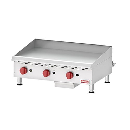 Omcan - Countertop Stainless Steel Gas Griddle With Thermostatic Control With 3 Burners - 43018