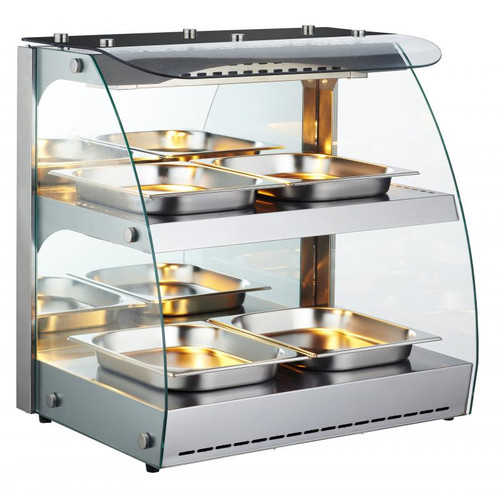 Omcan - 100 L Double-Shelf Full Service Heated Display Case - 43121