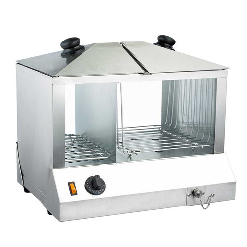 Omcan - 1300 Watts Hotdog Steamer And Bun Warmer  200 Hotdogs And 60 Buns Capacity - 43215