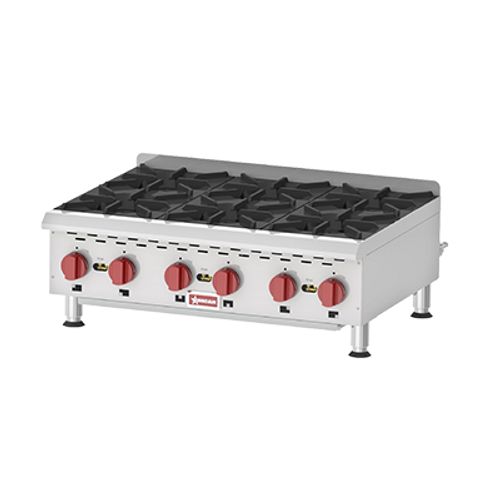 Omcan - Countertop Stainless Steel Gas Hot Plate With 6 Burners - 43735