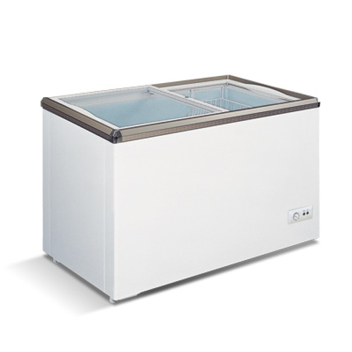 """Omcan - 45.7"""" Ice Cream Display Chest Freezer With Flat Glass Top - 45293"""