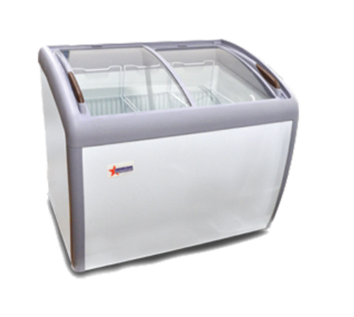 """Omcan - 39"""" Ice Cream Display Chest Freezer With Curve Glass Top - 31456"""