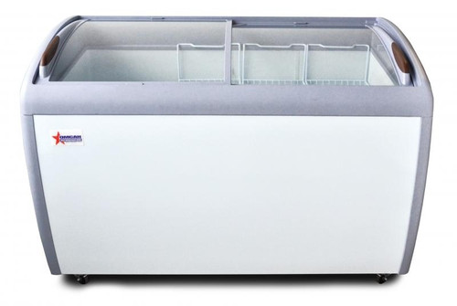 """Omcan - 50"""" Ice Cream Display Chest Freezer With Curve Glass Top - 27941"""