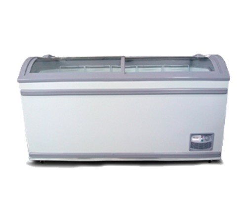 """Omcan - 58"""" Ice Cream Display Chest Freezer With Curve Glass Top - 31457"""