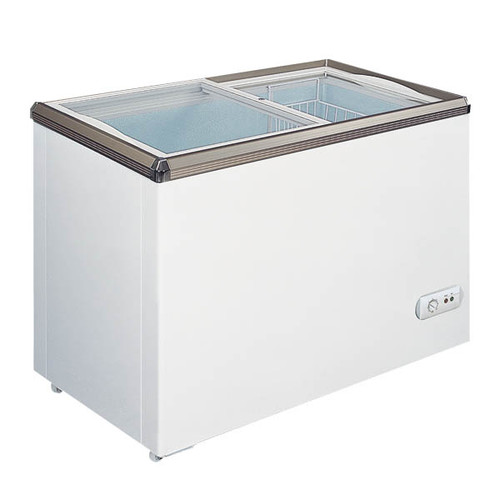 """Omcan - 34"""" Ice Cream Display Chest Freezer With Flat Glass Top - 45292"""