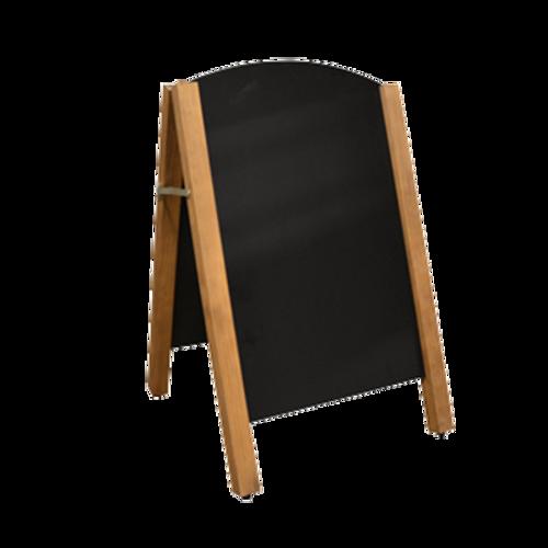 Omcan - A-Frame Sidewalk Menu Chalkboard With Decorative Mahogany Color Partial Frame - 31397