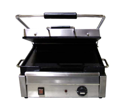 """Omcan - 11"""" X 15"""" Single Panini Grill With Smooth Top And Bottom Grill Surface - 21465"""