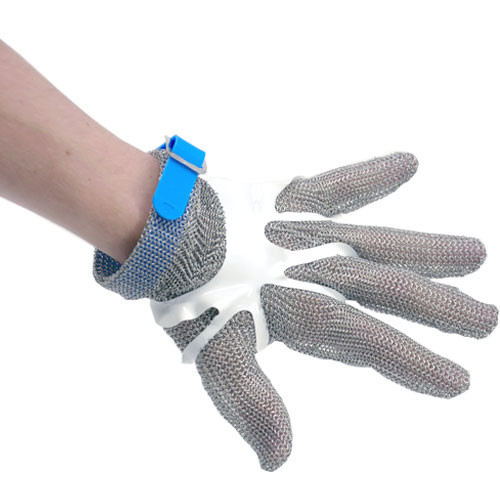 Omcan - Five Finger Stainless Steel Mesh Glove With Blue Silicone Strap  Large - 44350