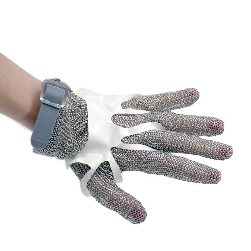 Omcan - Five Finger Stainless Steel Mesh Glove With Gray Silicone Strap  Extra Small - 44354