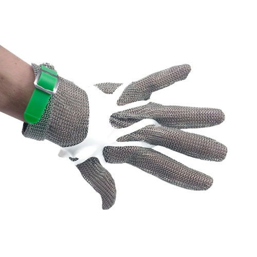 Omcan - Five Finger Stainless Steel Mesh With Green Silicone Strap  Extra Large - 44353