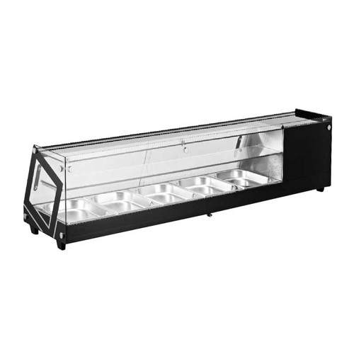 """Omcan - 58"""" Sushi Showcase With Flat Glass With 84 L Capacity - 44394"""