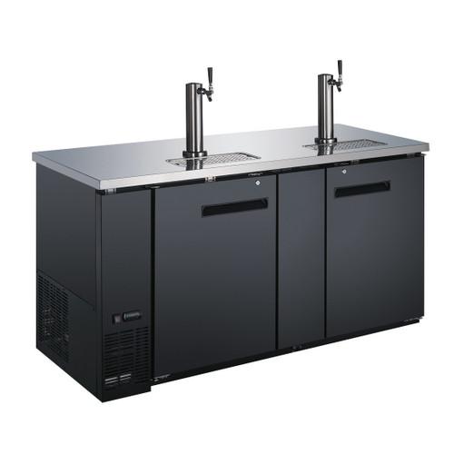 Omcan - 23.3 Cu.Ft. Double Solid Door Beer Bottle Dispenser With Two Taps - 50068