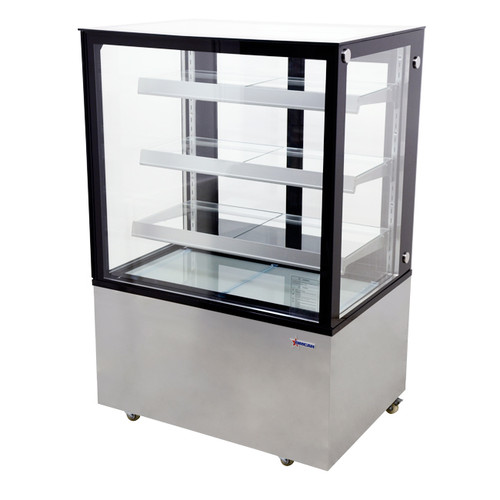 """Omcan - 36"""" Square Glass Floor Refrigerated Display Case - 44382"""