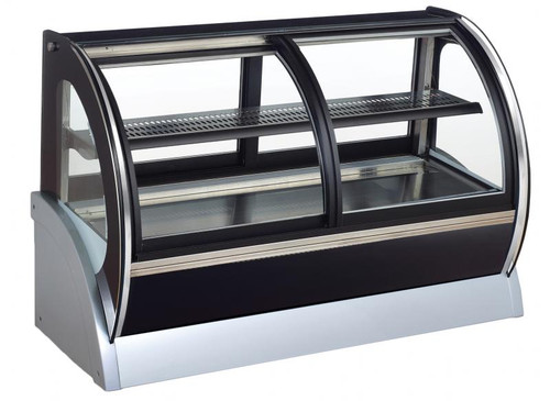 Omcan - 115 L Countertop Curved Glass Refrigerated Display With Dual Access - 31865