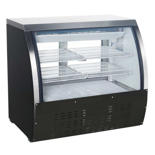 """Omcan - 47"""" Refrigerated Floor Showcase With Black Coated Steel Exterior - 50077"""