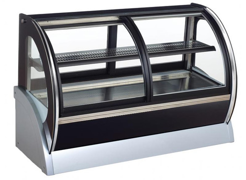 Omcan - 155 L Countertop Curved Glass Refrigerated Display With Dual Access - 31866