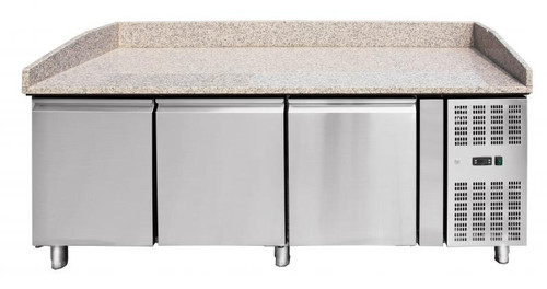 """Omcan - 80"""" Granite Top Refrigerated Pizza Prep Table - 41145"""