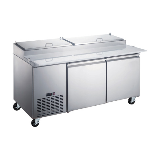 """Omcan - 71"""" Refrigerated Pizza Prep Table With 2 Door - 50043"""