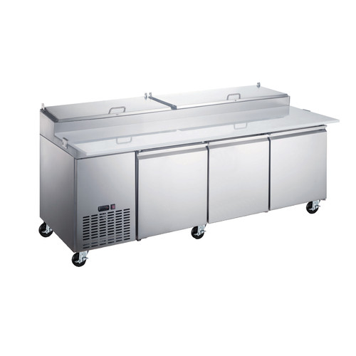 """Omcan - 92"""" Refrigerated Pizza Prep Table With 3 Doors - 50044"""