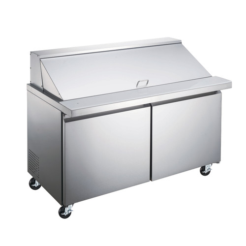 """Omcan - 60"""" Mega Refrigerated Prep Table With 2 Doors - 50051"""