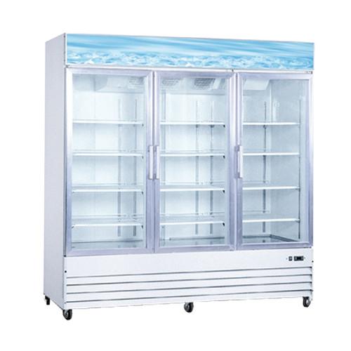 """Omcan - 78"""" 3-Door Swing Glass Refrigerator - 50052"""