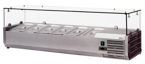 """Omcan - 47"""" Refrigerated Topping Rail With Sneeze Guard And 4 Pan Capacity - 40535"""