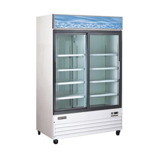 "Omcan - 53"" 2-Door Sliding Glass Refrigerator - 50032"