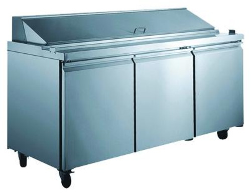 Omcan - 15.55 Cu. Ft. Refrigerated Prep Table With 3 Doors - 24267