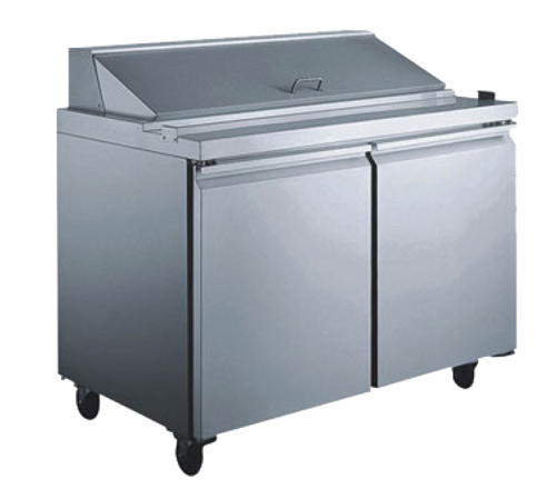 """Omcan - 60"""" Mega Refrigerated Prep Table With 2 Doors - 24275"""