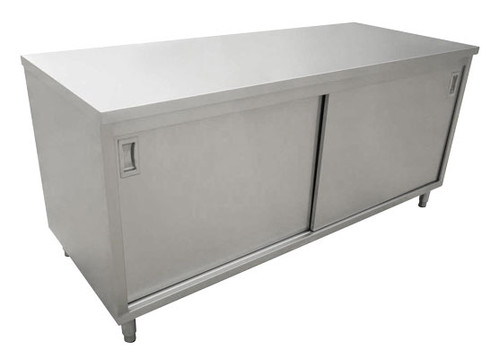 """Omcan - 24"""" X 48"""" Stainless Steel Worktable With Cabinets And Sliding Doors - 44186"""